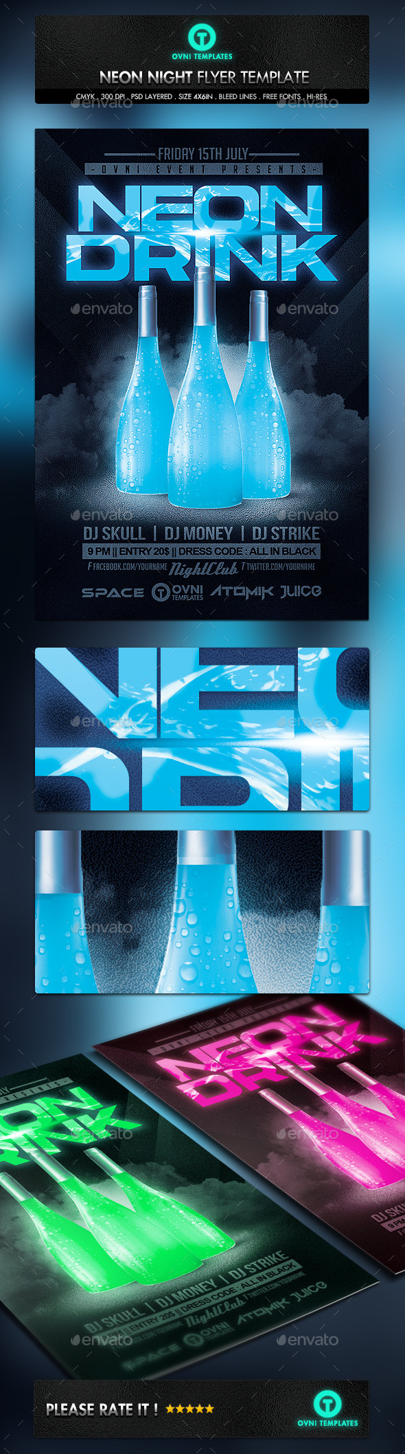 GraphicRiver Neon Drink Flyer Template 10988219