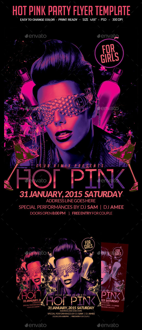 GraphicRiver Hot Pink Party Flyer Template 10988255