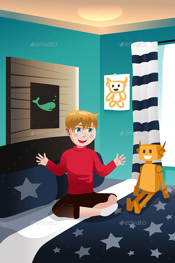GraphicRiver Boy Playing in Room 10988615