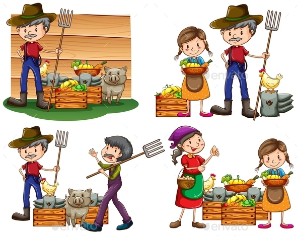 GraphicRiver Set of Farmers 10988675