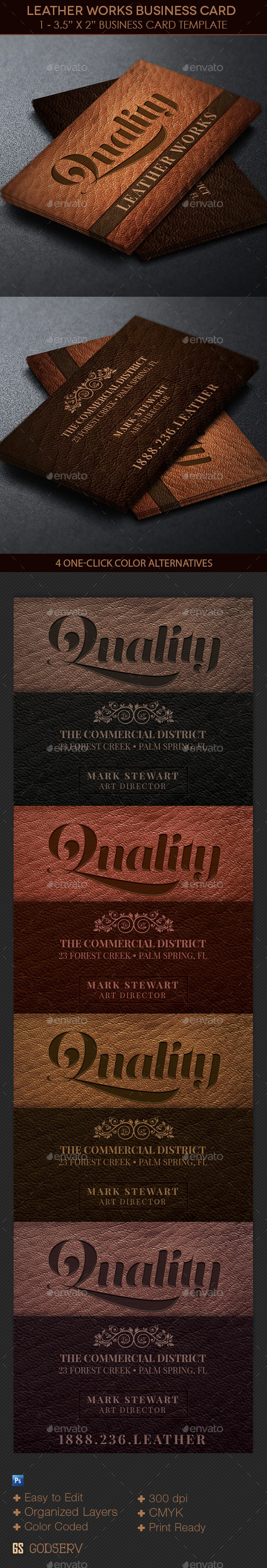GraphicRiver Leather Works Business Card Template 10988757
