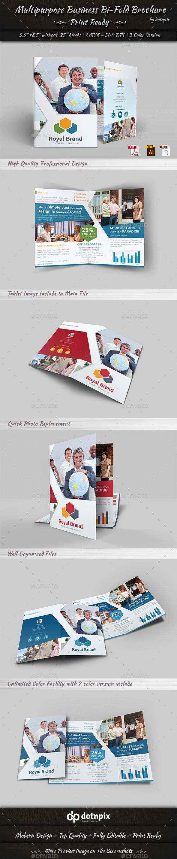 GraphicRiver Multipurpose Business Bi-Fold Brochure 10989122