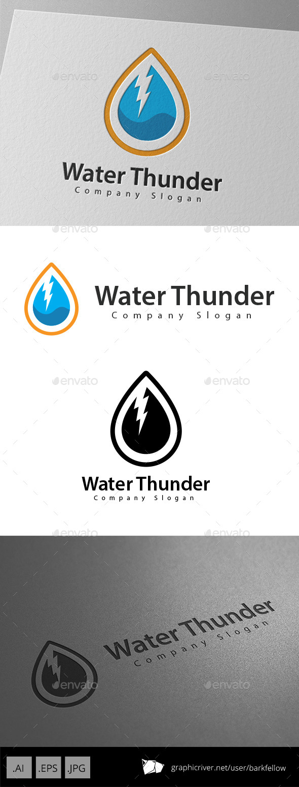 GraphicRiver Water Thunder Logo Design 10989158
