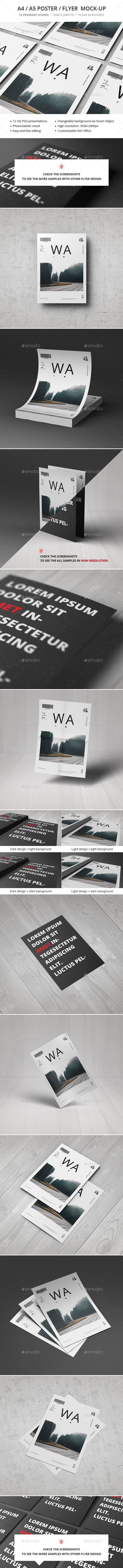 GraphicRiver A4 A5 Poster Flyer Mockup 10989492