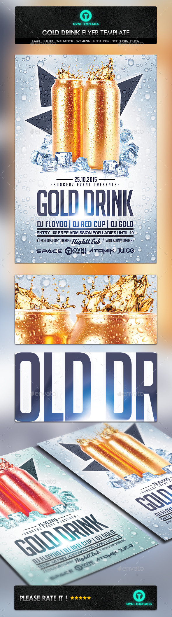 GraphicRiver Gold Drink Flyer Template 10989496