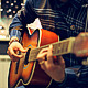 Man Playing an Acoustic Guitar on a Beautiful Back - VideoHive Item for Sale