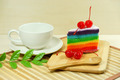 White coffee cup and Rainbow cake with red cherries - PhotoDune Item for Sale