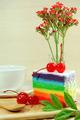 Rainbow cake with cherries - PhotoDune Item for Sale