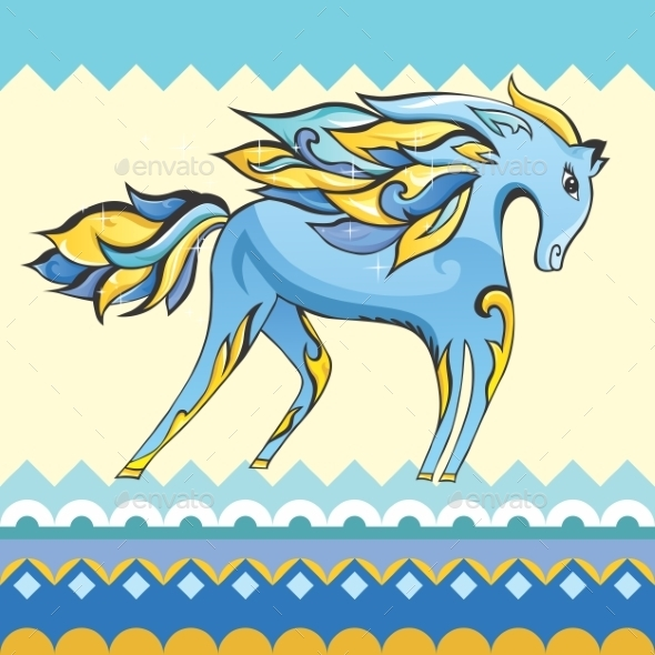 GraphicRiver Creative Blue Horse Illustration 10990670