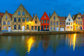 Night Bruges canal with beautiful colored houses - PhotoDune Item for Sale