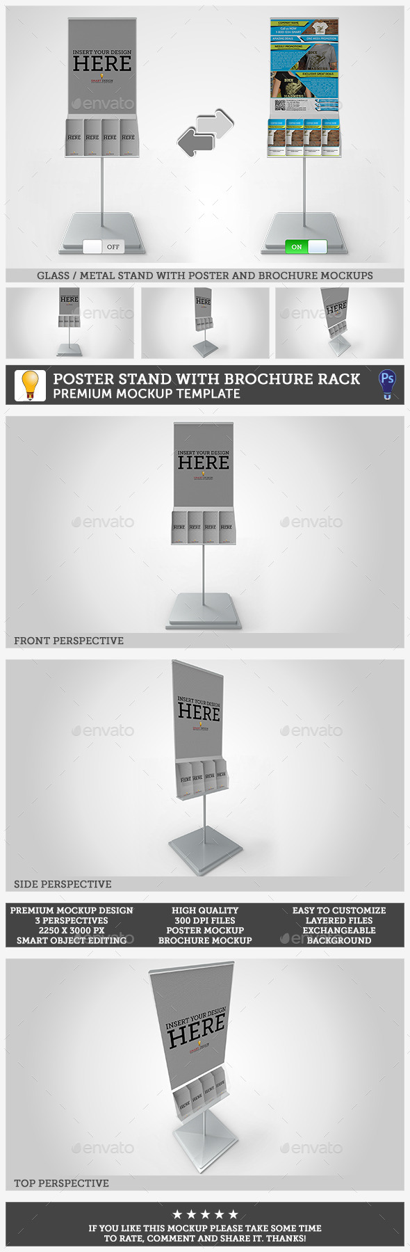 GraphicRiver Poster Stand with Brochure Rack Mockup 10991481