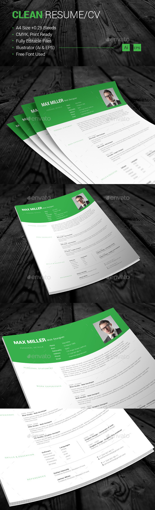 GraphicRiver Clean Resume CV 10991532