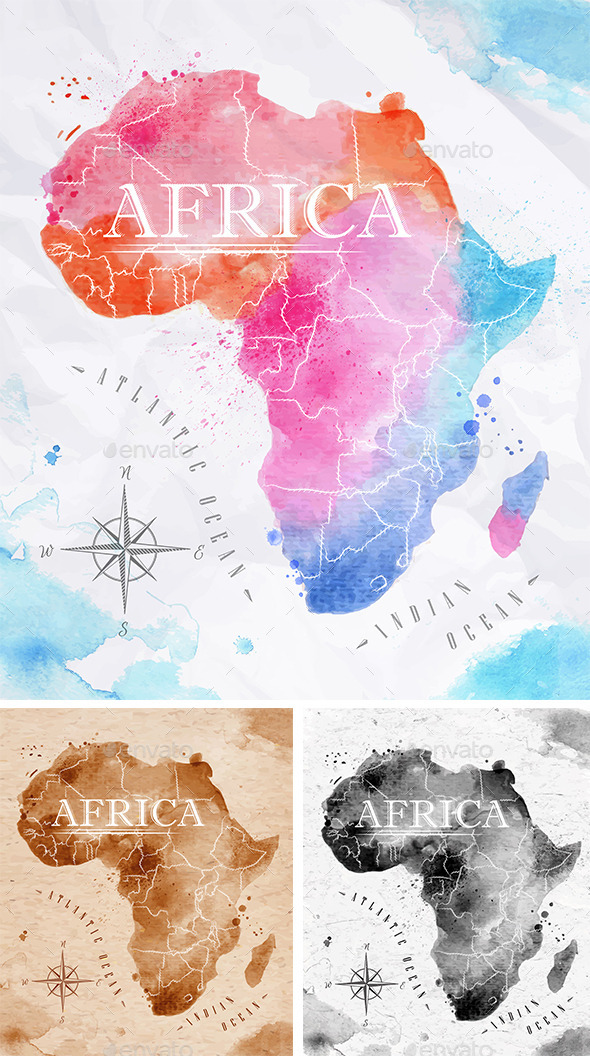 GraphicRiver Watercolor Map Africa 10991555