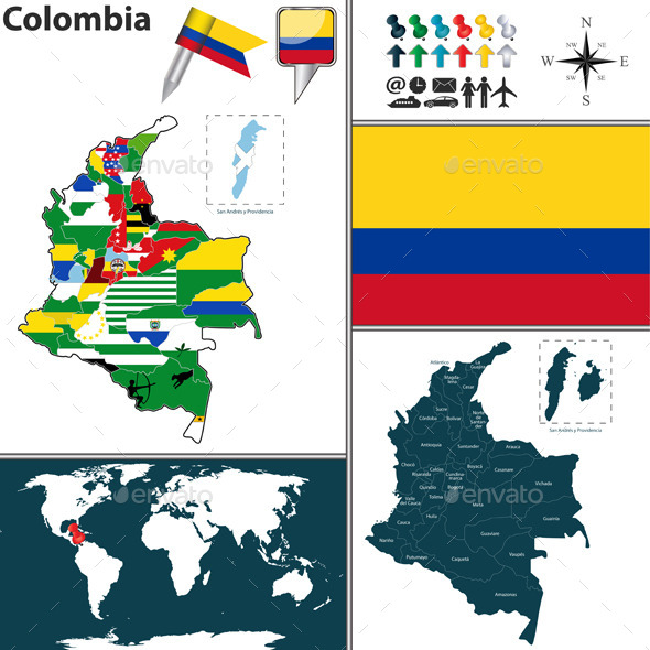 GraphicRiver Map of Colombia 10991736