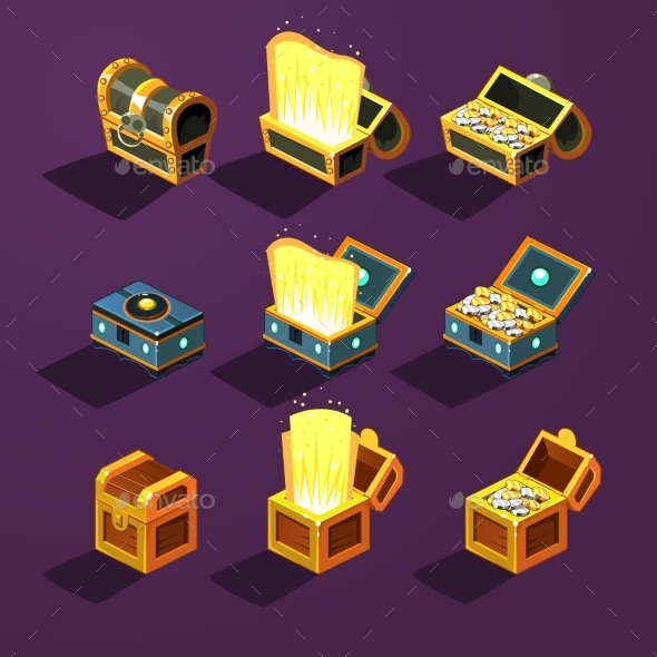 GraphicRiver Chest Set for Game Resource Vector Illustration 10991745