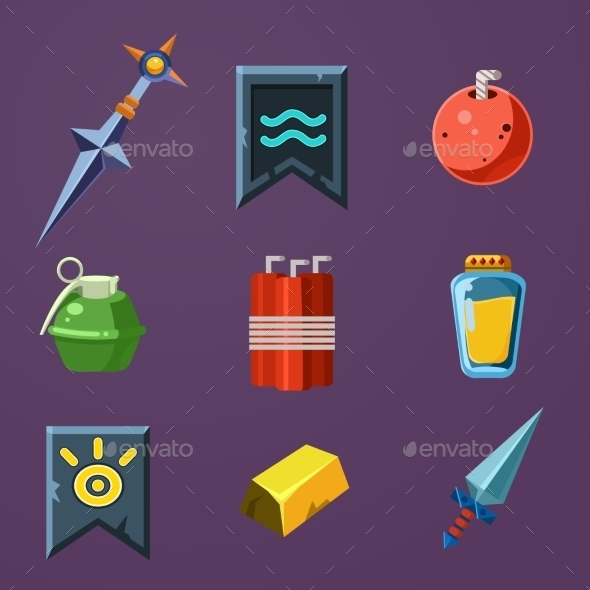 GraphicRiver Game Resources Icons Flat Vector Set 10991750