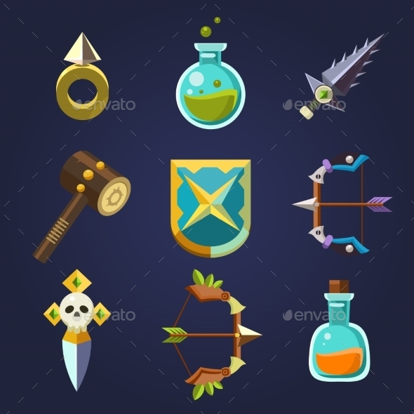 GraphicRiver Game Resources Icons Flat Vector Set 10991753