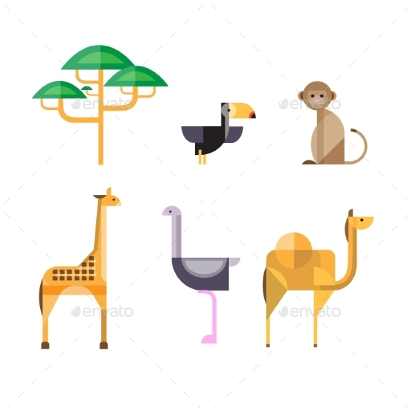 GraphicRiver Flat African Animals and Plants Geometric Style 10991757