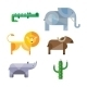 Flat African Animals and Plants. Geometric Style - GraphicRiver Item for Sale