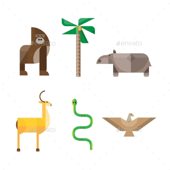 GraphicRiver Flat African Animals and Plants Geometric Style 10991761