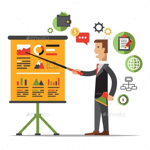 GraphicRiver Businessman Gives a Presentation or Seminar 10991771