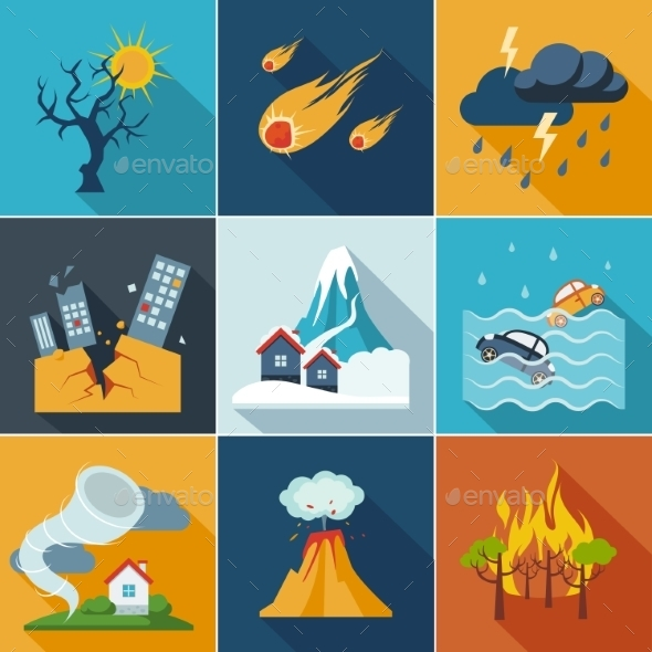 GraphicRiver Natural Disaster Icons 10992182