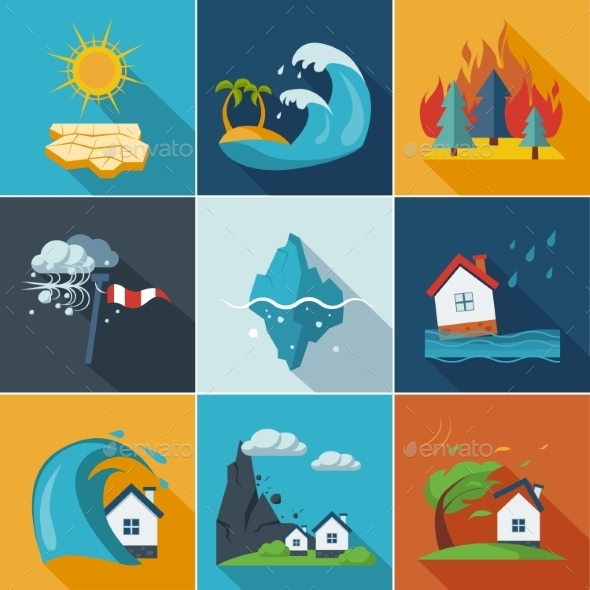 GraphicRiver Natural Disaster Icons 10992184