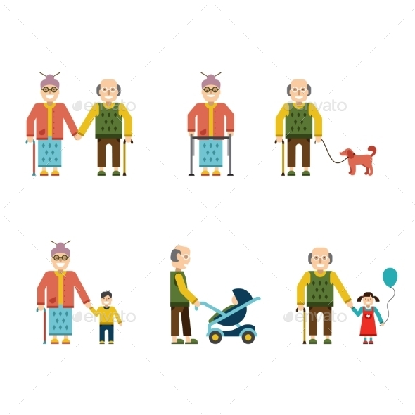 GraphicRiver Older People In Different Situations Isolated 10992364