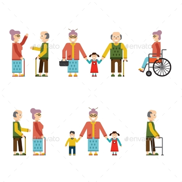 GraphicRiver Older People In Different Situations Isolated 10992369