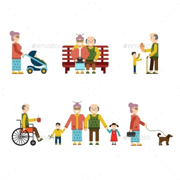 GraphicRiver Older People In Different Situations Isolated 10992372