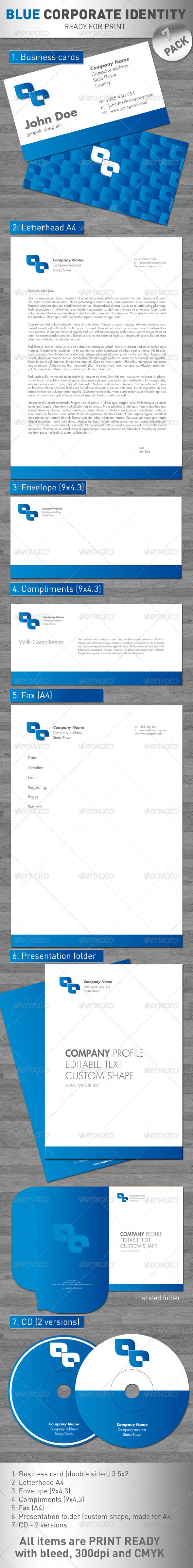 Blue Corporate Identity - Stationery Print Templates