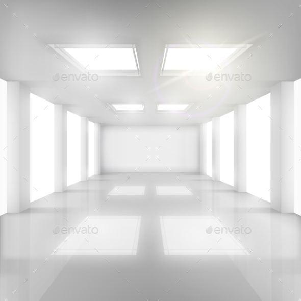 GraphicRiver White Room with Windows in Walls and Ceiling 10992620