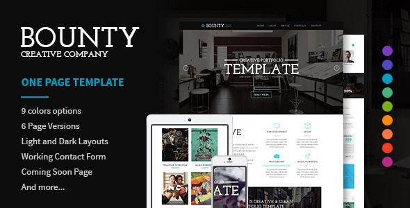 Bounty - Modern Responsive HTML Template - Creative Site Templates