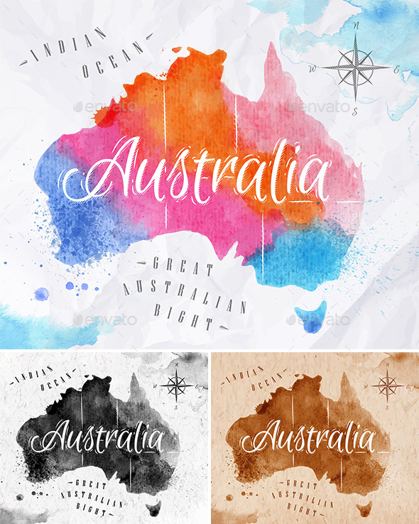 GraphicRiver Watercolor Map Australia 10993201