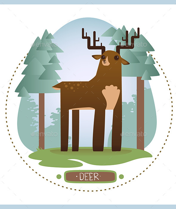 GraphicRiver Deer in Forest 10993337