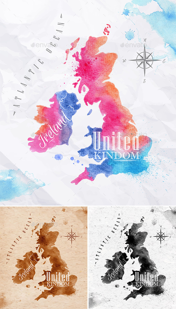 GraphicRiver Watercolor Map UK 10993354