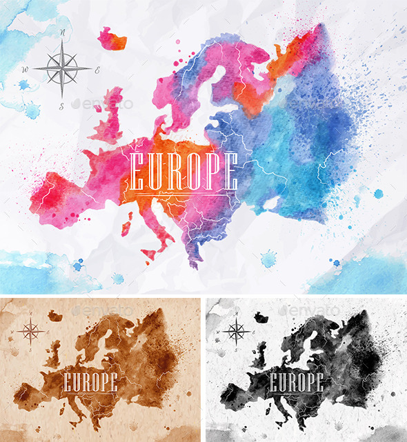 GraphicRiver Watercolor Map Europe 10993624