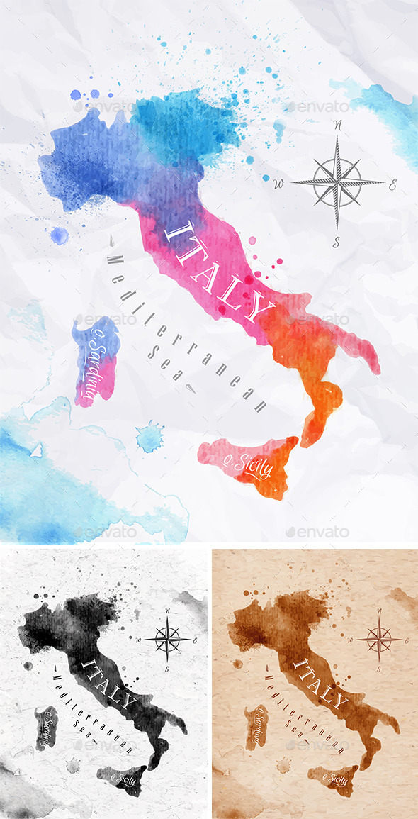 GraphicRiver Watercolor Map Italy 10993758