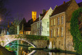 Cityscape with a tower Belfort and the Green canal in Bruges at - PhotoDune Item for Sale