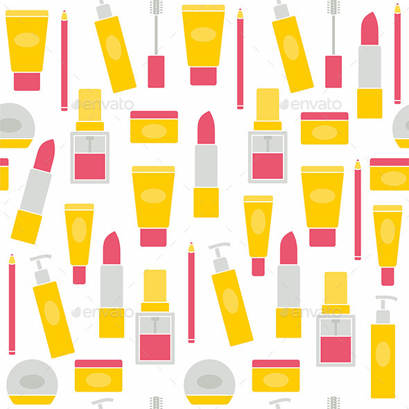 GraphicRiver Seamless background with cosmetics icons 10994253