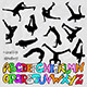 Break Dancer Silhouettes and Graffiti Alphabet - GraphicRiver Item for Sale