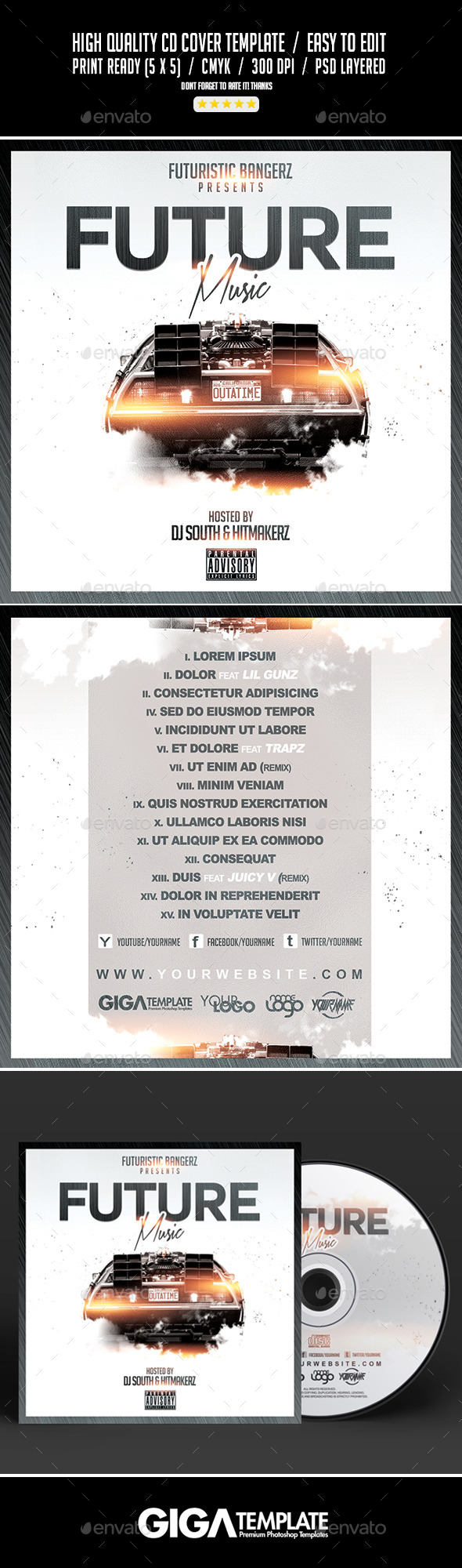 GraphicRiver Future Music Mixtape Album CD Cover Template 10930960