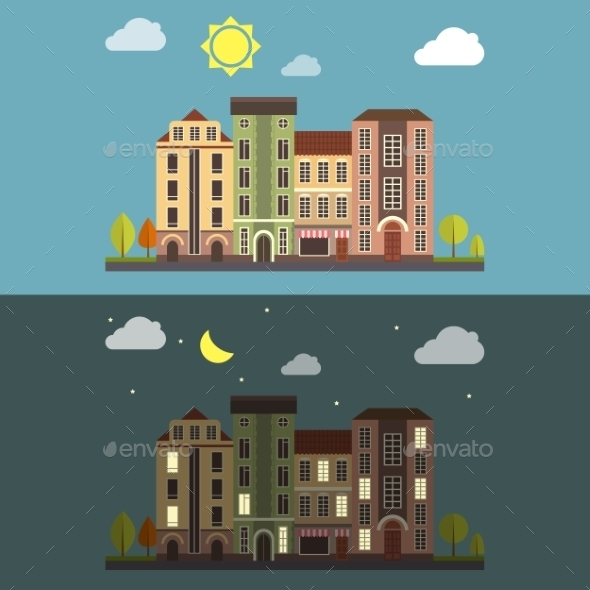 GraphicRiver Day and Night Cityscape Vector Landscape 10994862