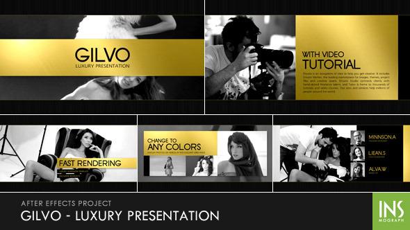 AE模板:优雅时尚 奢侈黄金元素 品牌公司业务幻灯片宣传 电视栏目包装模板包