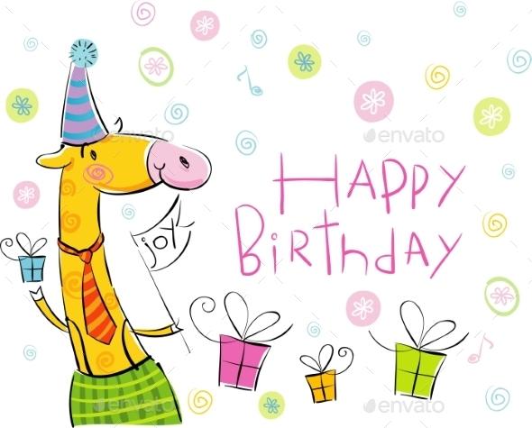 GraphicRiver Birthday Giraffe 10995130