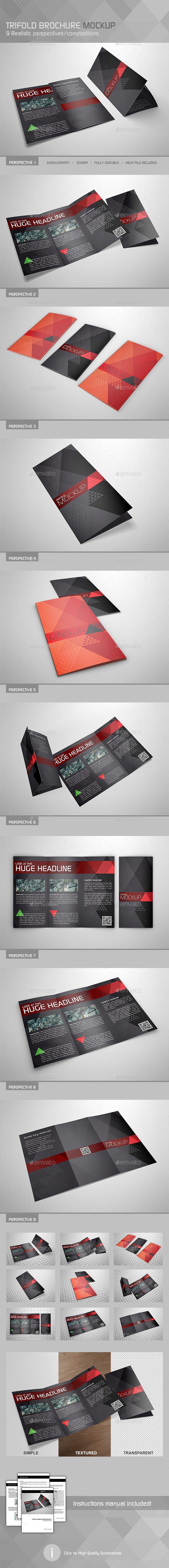GraphicRiver Realistic Trifold Brochure Mockup 10995222