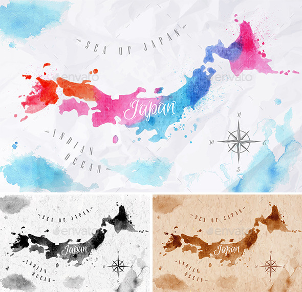 GraphicRiver Watercolor Map of Japan 10995226