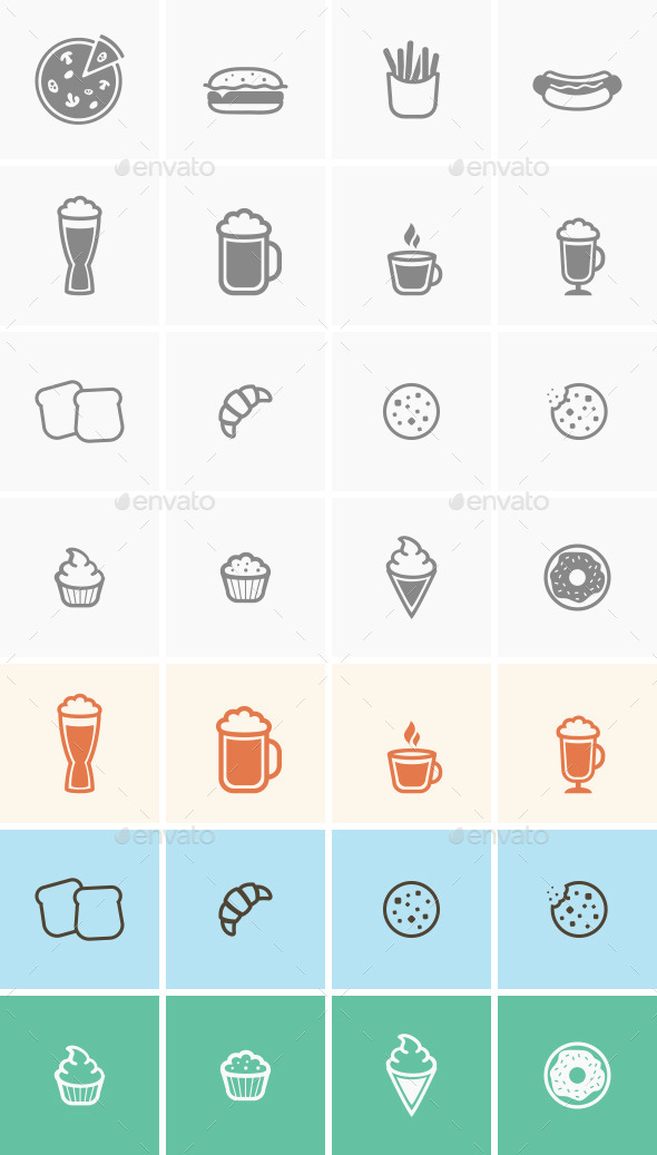 GraphicRiver Food Icons Set 10995633