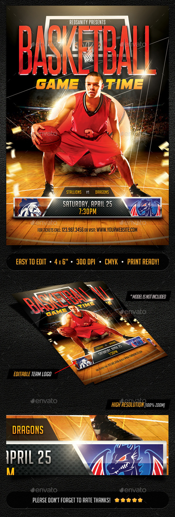 GraphicRiver Basketball Game Time Flyer 10945673