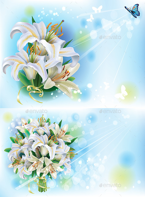 GraphicRiver Cards with Bouquet of White Lilies 10995922